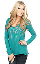 Panhandle Women's Turquoise  Heather Knit with Studs Long Sleeve V-Neck Tee