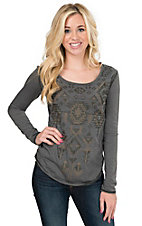 Panhandle Women's Grey Heather Knit with Glitter Aztec Print Long Sleeve Top