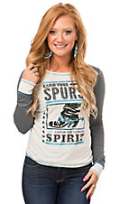 Rock & Roll Cowgirl Women's Cream Earn Your Spurs Long Sleeve Tee