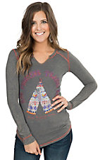 Panhandle Women's Vintage Grey with Teepee Embroidery Long Sleeve Tee