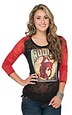 Rock & Roll Cowgirl Women's Black Rodeo Print with Red Long Sleeves Burnout Top