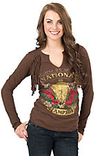 Panhandle Women's Brown Knit National Stampede with Fringe Long Sleeve Casual Knit Top