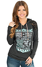 Panhandle Women's Heather Charcoal Rodeo Days with Lace Long Sleeve Hooded Shirt