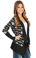 Panhandle Women's Black & White Aztec Print Cardigan