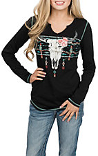 Panhandle Women's Black Steer Head L/S Casual Knit Shirt