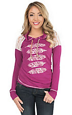 Panhandle Women's Orchid with Feathers & Lace Inset Hooded Long Sleeve Knit Pullover