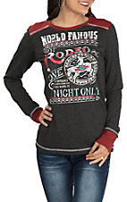 Panhandle Women's Grey with Red World Famous Rodeo Long Sleeve Casual Knit Tee