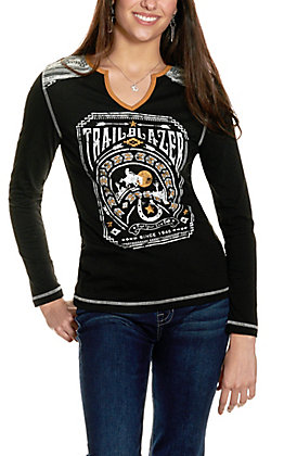 Panhandle Women's Black with Trailblazer Graphic Long Sleeve Top