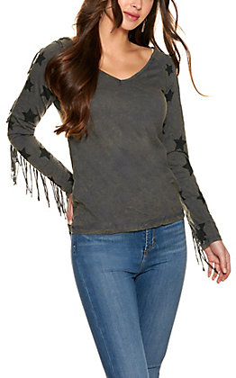 Panhandle Women's Grey Distressed with Fringe and Stars Long Sleeve T-Shirt