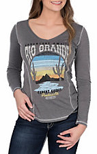 Panhandle Women's Long Sleeve Knit V-Neck Rio Grande Print Shirt