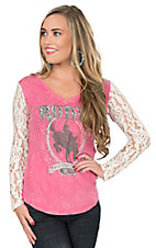 Panhandle Women's Pink with Rodeo Screen Print on Front and Cream Lace Long Sleeves Casual Knit Top