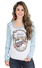 Panhandle Women's White with Country Graphic Screen Print and Light Blue Long Sleeve Casual Knit Top