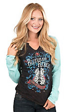 Panhandle Women's Black Burn Out with Bluegrass Screen Print and Teal Long Sleeve Casual Knit Top