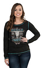 Panhandle Women's Black Burn Out with Rodeo Stampede Screen Print Long Sleeve Casual Knit Top