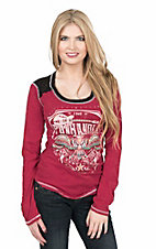 Panhandle Women's Red with Logo Screen Print Long Sleeve Casual Knit Top