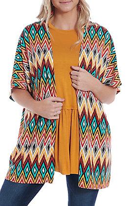 Panhandle Women's Multi Print Short Sleeve Kimono