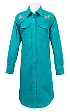 Wired Heart Girls Turquoise with Pink Rhinestud Horse Long Sleeve Western Shirt Dress
