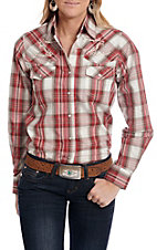 Cowgirl Legend Women's Red and Whtie Plaid Long Sleeve Western Snap Shirt