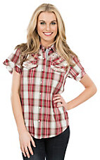 Wired Heart Women's Red and White Plaid Short Sleeve Western Shirt