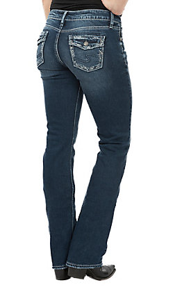 Silver Jeans Women's Suki Slim Boot Faux Flap Jeans