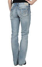 Silver Jeans Women's Light Wash Suki Mid Rise Relaxed Fit Slim Boot Cut Jean - 33in Inseam