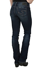 Silver Jeans Women's Dark Wash Suki Mid Rise Relaxed Fit Slim Boot Cut Jean- Regular & Extended Sizes, 33in Inseam