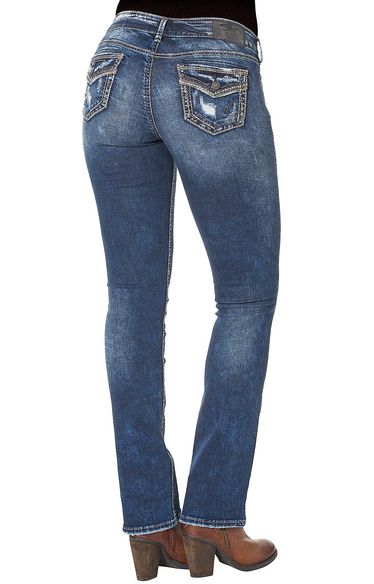 Silver Jeans Suki Women's Indigo Mid Slim Boot Leg Open Pocket ...