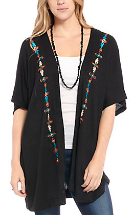 Panhandle Women's Black Aztec Embroidered Kimono