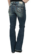 Silver Jeans Women's Medium Wash Suki Mid Rise Relaxed Fit Slim Boot Cut Jean - 33in Inseam