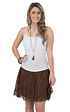 Wired Heart Women's Brown Lace Skirt