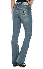 Silver Jeans Avery Women's Medium Wash High Rise Open Pocket Slim Boot Cut Jeans