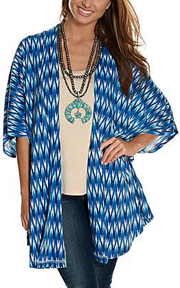 Panhandle Women's Blue Ikat Print Short Sleeve Jersey Knit Kimono
