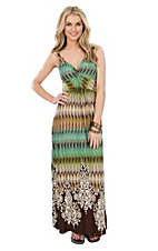 Wired Heart Women's Brown with Blue, Green, and Orange Pattern Sleeveless Maxi Dress