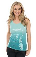 Wired Heart Mint Ombre Sequin Sleeveless Casual Knit Tank Top