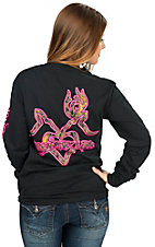 Country Life Women's Black with Neon Pink Kiss Design Long Sleeve Tee