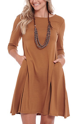 Panhandle Women's Camel Knit Swing Dress with Pockets