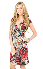 Panhandle Women's Multi Color Floral Print Cap Sleeve Wrap Dress