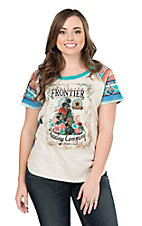 Panhandle Women's White with Frontier Graphic and Aztec Short Sleeves Casual Knit Shirt