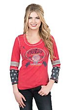 Panhandle Women's Red  with Pioneer Trading Screen Print and 3/4 Sleeves Casual Knit Shirt