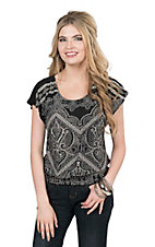 Panhandle Women's Black and White Paisley Print Cap Sleeve Fashion Top