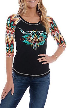 Panhandle Women's Black With Multi Color Steer Print And 3/4 Sleeve Casual Knit Top