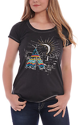 Panhandle Women's Black Crescent Moon & Teepee Graphic Knit Top