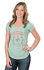 Panhandle Women's Sage with Rodeo Graphic Design on Front Cap Sleeve Casual Knit Top