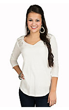 Panhandle Women's White with Sequins 3/4 Sleeve Top