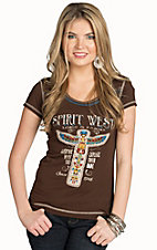 Panhandle Women's Brown Vintage Print Top