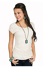 Panhandle Women's Cream Scoop Neck Lace Knit Top