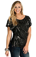 Panhandle Women's Black with Sequins Cap Sleeve Knit Top