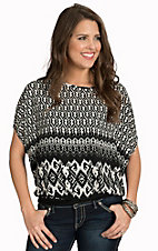 Panhandle Women's Black and White Jewel Print Chiffon Top