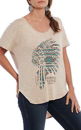 Panhandle Women's Tan Aztec Indian Headdress Fashion Top