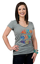 Panhandle Women's Grey with Multicolor Feather Short Sleeve Tee